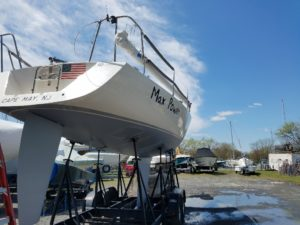 New paint and gelcoat refinish on a sailboat waiting to add standing rigging - JDOC Marine LLC