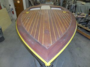 New teak wood installation on a sailboat waiting for gelcoat application - JDOC Marine LLC