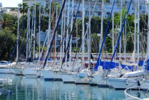 Line of docked sailboats - JDOC Marine, LLC