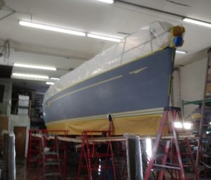 Sailboat before application of gelcoat finish - JDOC Marine LLC