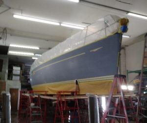 Sailboat in the process of being repaired - JDOC Marine LLC